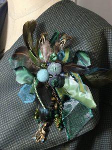 shades of green cluster brooch