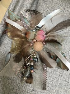 Soft grey cluster brooch
