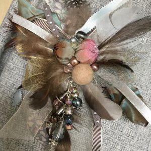 Soft grey cluster brooch